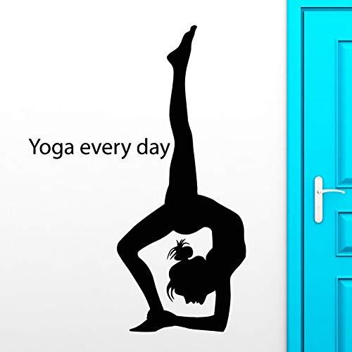 AKmene Yoga Etiqueta de la Pared calcomanía Chica Culturismo Cartel Vinilo Pared calcomanía 58x136cm