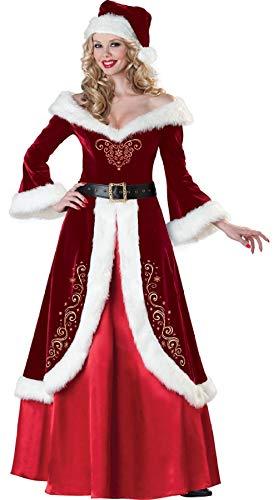 ZKDY Santa Claus Costume Ms. Dress Up Costume-Red_M