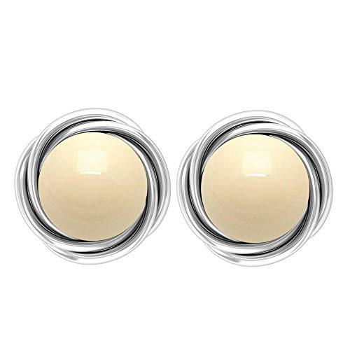 Rosec Jewels 14 quilates oro blanco redonda Perla de cultura japonesa