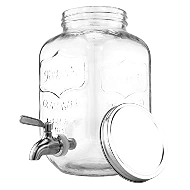 One Gallon Glass Mason Jar Beverage Dispenser w/Stainless Steel Spigot, Retro Yorkshire Style Jar, Clear Color