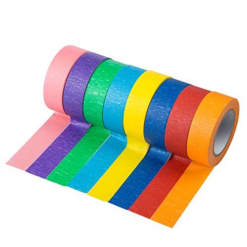qiaoyosh cinta adhesiva color, colores conjunto de cintas para artes, manualidades, pintura, modelado, recambio, etiquetado o codificación, cinta de conducto de colores, 8 rollos, 20mm x 13m