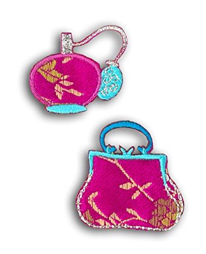 Mademoiselle Toga mera602 zak en fles de parfum set 2 borduursels badge hechtend roze/blauw 6,5 x 11 x 0,2 cm