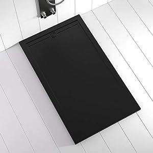 Shower Online Plato de ducha Resina FLOW - 80x90 - Textura Pizarra - Antideslizante - Todas las medidas disponibles - Incluye Rejilla Color Negro y Sifón - Negro RAL 9005