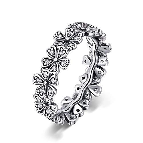 XJYA Anello da donna in argento sterling S925 semplice anello con diamante daisy da donna, no. 6