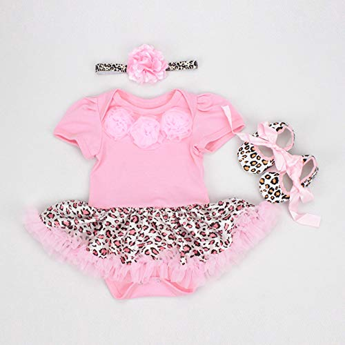 NPK collection Reborn Baby Doll Clothes Outfit for 20-23 Inch Reborns Newborn Babies Matching Clothing Pink Leopard Tutu Dress Three-Piece Set