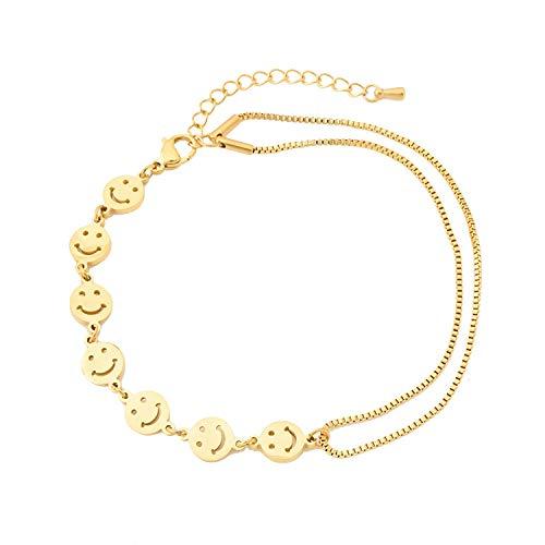 Linda caja de cadena de pie sonriente cadena de bebé cadena de expresión de doble capa accesorios horno electroplating 18k cadena de oro mujer