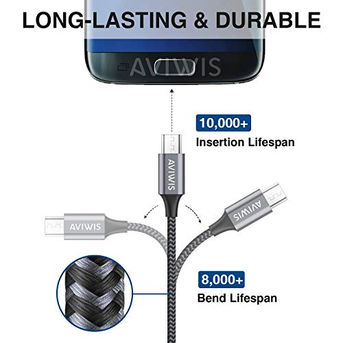 AVIWIS Micro USB Kabel [4Pack 0.3M+1M+2M+3M] Nylon Micro USB Ladekabel High Speed Handy Android Ladekabel für Samsung Galaxy S7/ S6/ J7/ Note 5, Xiaomi, Huawei, Wiko, Nokia, Kindle, PS4 - Grau