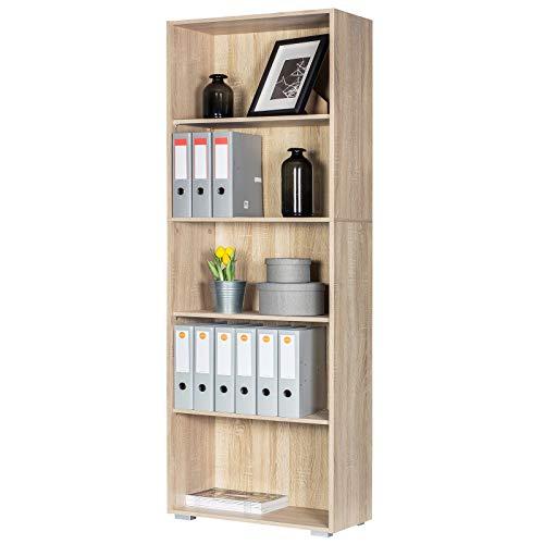 Deuba Estantería libreria Biblioteca 'Vela' Roble 5 estantes 190 cm Mueble de almacenaje Oficina Dormitorio salón casa