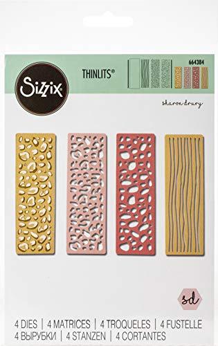 Sizzix 664384 Set di Fustelle Thinlits 4 pz Elemento Selvaggio di Sharon Drury, Multicolore, Taglia unica