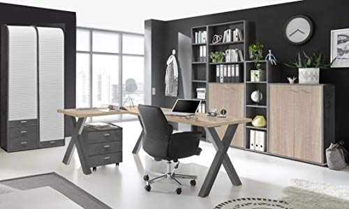 Büromöbel Mister Office in Graphit und Eiche Sägerau 8 teiliges Megaset mit Eckschreibtisch und Rollcontainer, einem hohen Regalschrank, Einer Kommode, Regalen und Zwei Rolloschränken