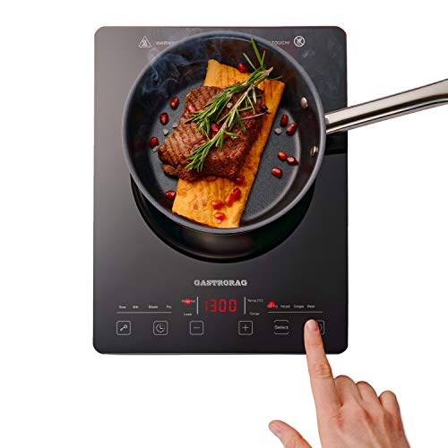 Gastrorag 1300W ULTRA-THIN AND ELEGANT Portable Sensor Touch Single Burner Induction Cooktop –...