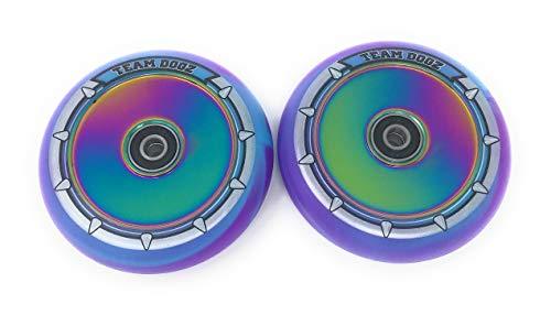 Paar (x2) Team Dogz 100mm Hohlkern-Scooter-Räder ABEC 11-Lager passen auch für Sacrifice MGP - Neochrom Regenbogenkern mit blauem und lila PU