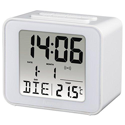 Hama Funkwecker digital (Kleiner Wecker mit Funk und Licht, Reisewecker mit automatischer Zeitanpassung, Digitalwecker inkl. Batterie) weiß