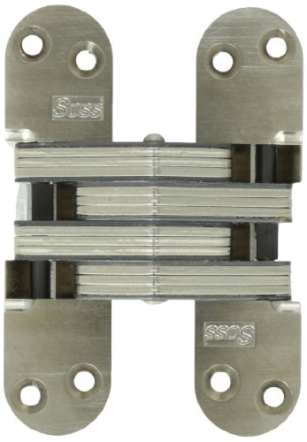 SOSS Invisible Hinge Model 220 for 2' Thick Material, 20 Minute Fire Rated, Zinc, Satin Nickel Exterior Finish, Model Number 220US15, 12 x 1.5 inches