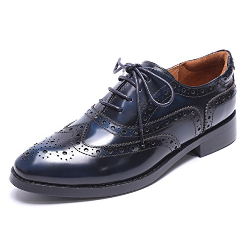 Mona flying Women's Leather Perforated Lace-up Saddle Oxfords Brogue Wingtip Derby Shoes Blue-Black
