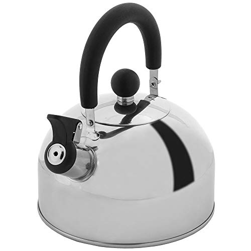 Lily's Home 2 Quart Stainless Steel Whistling Tea Kettle, the Perfect Stovetop Tea and Water Boilers...