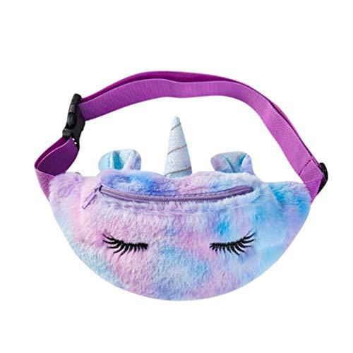ZGMYC Riñonera de peluche con purpurina y unicornio.