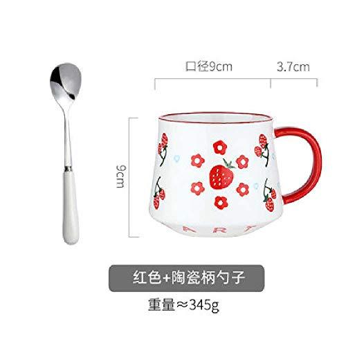 xiaojiangqi Retro Frühstück Keramik Tasse Einfach Große Kapazität Tasse Trinkwasser Haferflocken Mit Löffel rot-450 ml + Löffel