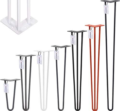 HOLZBRINK Haarnadel Tischbein 12 mm, 3-Stange Bein, Hairpin Leg aus Stahl, 80 cm, Tiefschwarz, 1 Stück, HLT-13A-80-9005