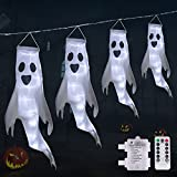 Halloween Ghost Windsocks with White LED String Lights, Light up Hanging Ghost Outdoor Halloween Decorations Battery Operated Waterproof for Halloween Party Yard Decor (4 Ghosts)