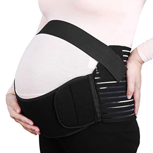 SOURCING MAP sourcingmap® Negro M Tamaño de maternidad antes del parto cinturón abdominal ayuda de la cintura de la venda del apoyo trasero