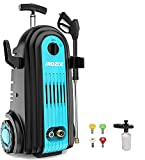 iRozce Pressure Washer, Brushless Induction Motor 3700PSI 2.8GPM Max, Electric Power Washer with Foam Cannon, Metal Adapter, Connector Nozzles for Driveway, Car Washing