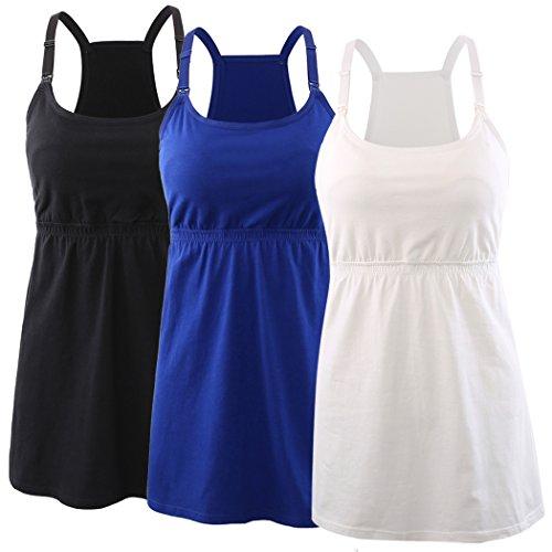 Kuci Umstandsmode, Still-Tanktop Damen, Schlaf-BH, Schwangerschafts-BH Gr. S, Black+blue+white/3pack