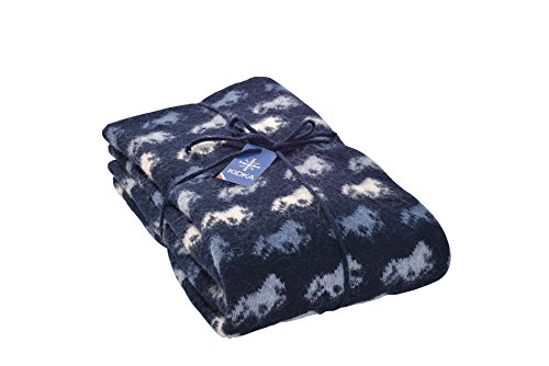 kidka Tagesdecke Islandpferde Blau - Wolldecke aus 100% Islandwolle, 185 x 130 cm