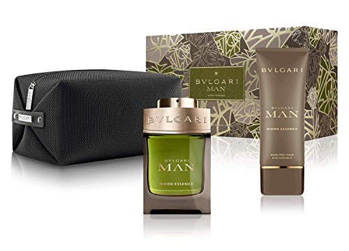 BVLGARI Man Wood Essence for Men 3-Piece Set (3.4 Oz Eau De Parfum Spray + 3.4 Oz After Shave Balm + Pouch)