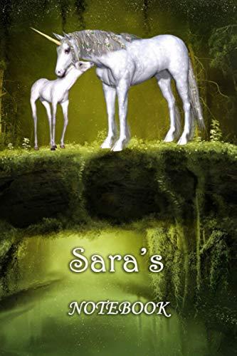 Sara's Notebook: Sara Personalised Custom Name Notebook - Unicorn Family