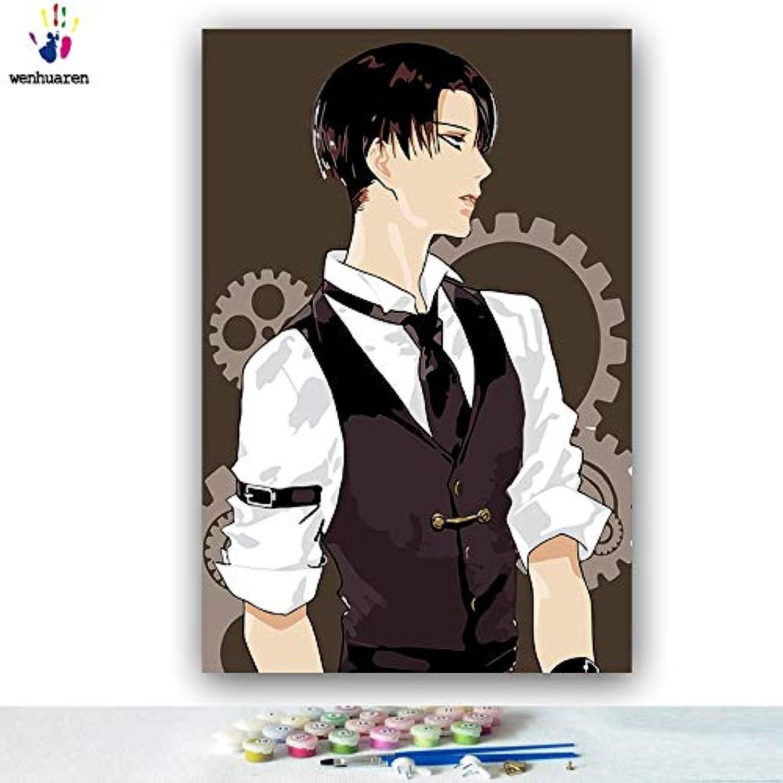 KYKDY DIY Farbgebung Bilder nach Zahlen mit Farben Angriff auf Titan Junior Comics Bild Zeichnung Malen nach Zahlen gerahmt Home, 0727,60x75 kein Rahmen
