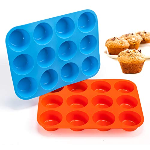 Gezan Non-Sticky Silicone Muffin Pan-Muffin Molder for Muffins and Cupcakes-Cupcake silicone molder-Baking Accessory-12 X Muffin Molders