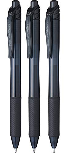Pentel BL110 Roller Gel Energel X 1.0, Nero 3 pz