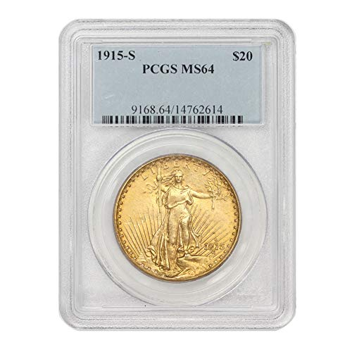 1915 S American Gold $20 Saint Gaudens Double Eagle MS-64 by CoinFolio $20 MS64 PCGS