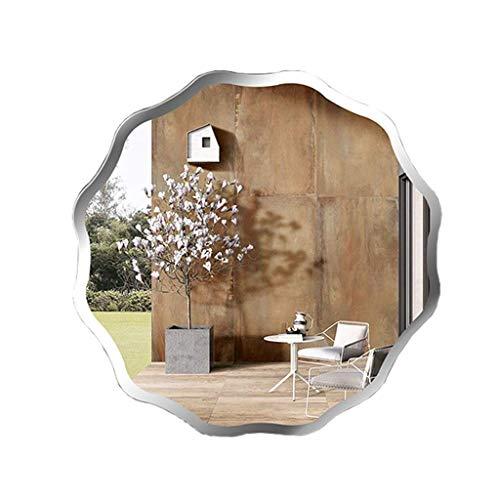WSJ Simple Modern Frameless Badezimmerspiegel Wandmontierter gewellter runder Kosmetikspiegel Veranda Dekorativer Spiegel