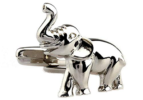 MRCUFF Elephant Pair Cufflinks in a Presentation Gift Box & Polishing Cloth