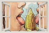 Unified Distribution Sexy Girls Maiskolben - Wandtattoo mit 3D Effekt, Aufkleber für Wände und Türen Größe: 92x61 cm, Stil: Fenster