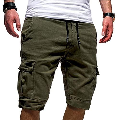 YANFANG Pantalones Cortos Deportivos Casuales De Verano con Herramientas Talla Grande para Hombre,Pantalones Correr Entrenamiento Gimnasio Ropa Informal,Green,M