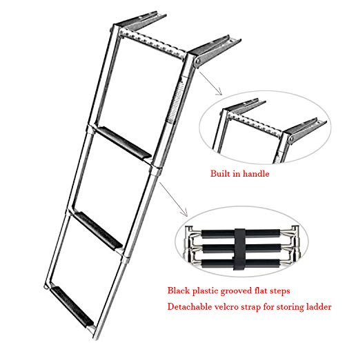 Amarine Made 3 Step Telescoping Swim Marine Boat Ladder Stainless with Built in Handle