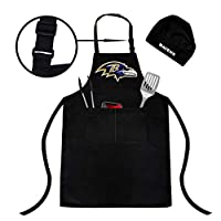 Northwest Baltimore Ravens Adjustable Water-Resistant Apron, Chef hat, Two Spacious Pockets, Unisex, Fully Reflecting The Attributes of Fans (Baltimore Ravens Apron)