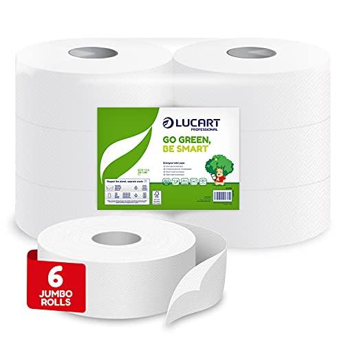 Lucart Professional - Rollos Jumbo de Papel Higiénico Ecológico de 2 Capas - Rollos de Papel Suave y Consistente - Papel 100% Reciclado Certificado FSC - Blanco - Paquete de 6 Rollos