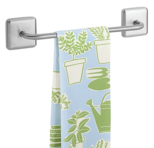 mDesign Toallero sin talado AFFIX – Perchero adhesivo, ideal para paños de cocina o toallas de baño – Montaje sencillo, basta con pegarlo a los muebles o azulejos – Acero satinado – Plateado
