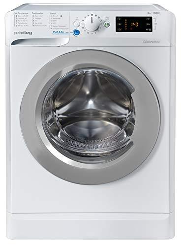 privileg PWF X 843 N Waschmaschine Frontlader / 1351 UpM / 8 kg / Push&Go Programm/Startzeitvorwahl/Kurzprogramme/Maschinenreinigung/Inverter Motor/Wasserschutz/Wolle/Kindersicherung