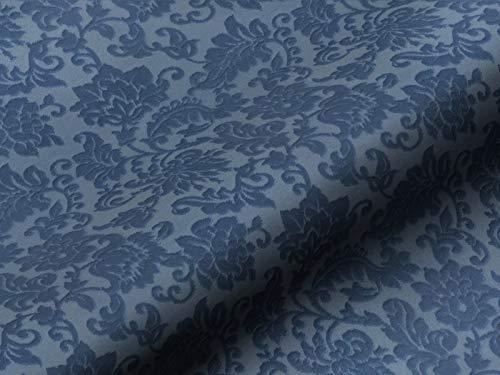 Saum & Viebahn GmbH & Co. KG Möbelstoff Mohair Brandenburg Ornamente Farbe blau als Robuster Bezugsstoff, Polsterstoff Gemustert zum Nähen und Beziehen, Mohair, Baumwolle
