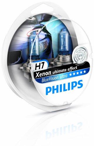 Preisvergleich Produktbild Philips BlueVision ultra Xenon-Effekt 12972BVUSM Scheinwerferlampe,  H7,  2er-Set