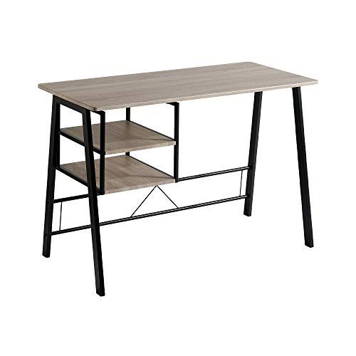 Mesa de Escritorio - Modelo ANDEA - Color Roble/Negro - Material MDF/Metal - Medidas 120 x 52 x 76,5 cm