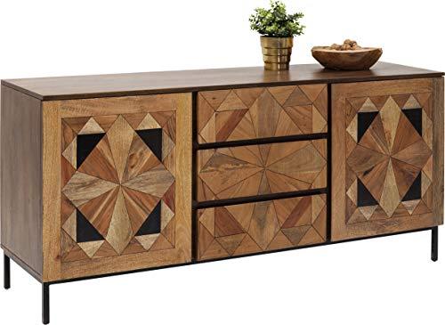 Kare Design Sideboard Limara, edles Echtholz Sideboard in Braun mit Schwarzen Ornamenten an der Front, breite Kommode mit 3 Schüben, 2 große Fachböden (H/B/T) 78x160x45