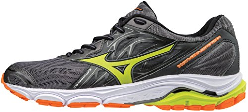 Mizuno Men's Wave Inspire 14 Running Shoe, Magnet/Lime Punch, 7