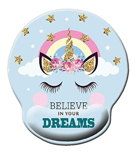 Mouse pad with Wrist Protection, Fantasy Mouse Pad, Teen Girls Mouse pad, Unicorn Figure with Believe in Your Dreams Inspiring Quote Mouse pad