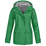 Sunward Coat for Women Women Solid Rain Outdoor Plus Waterproof Hooded Raincoat Windproof